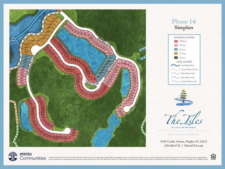 The Isles of Collier Preserve Coach Homes Site Plan. New homes for sale in Naples, Florida by Minto Communities.