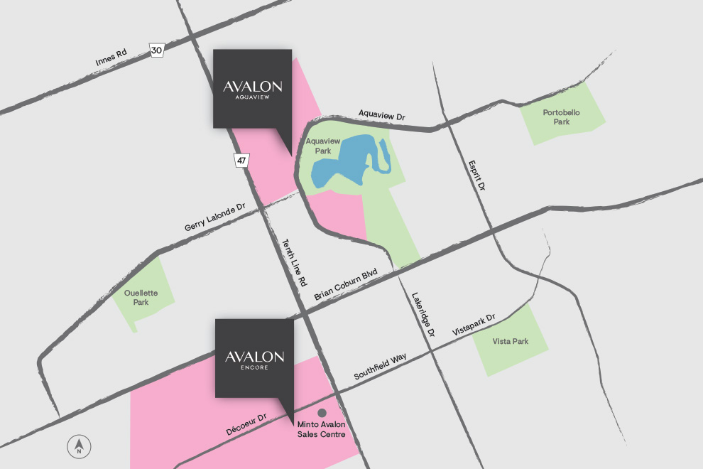 Map of Avalon in Orléans, Ottawa. New release of homes for sale at Avalon Aquaview, Minto Communities.