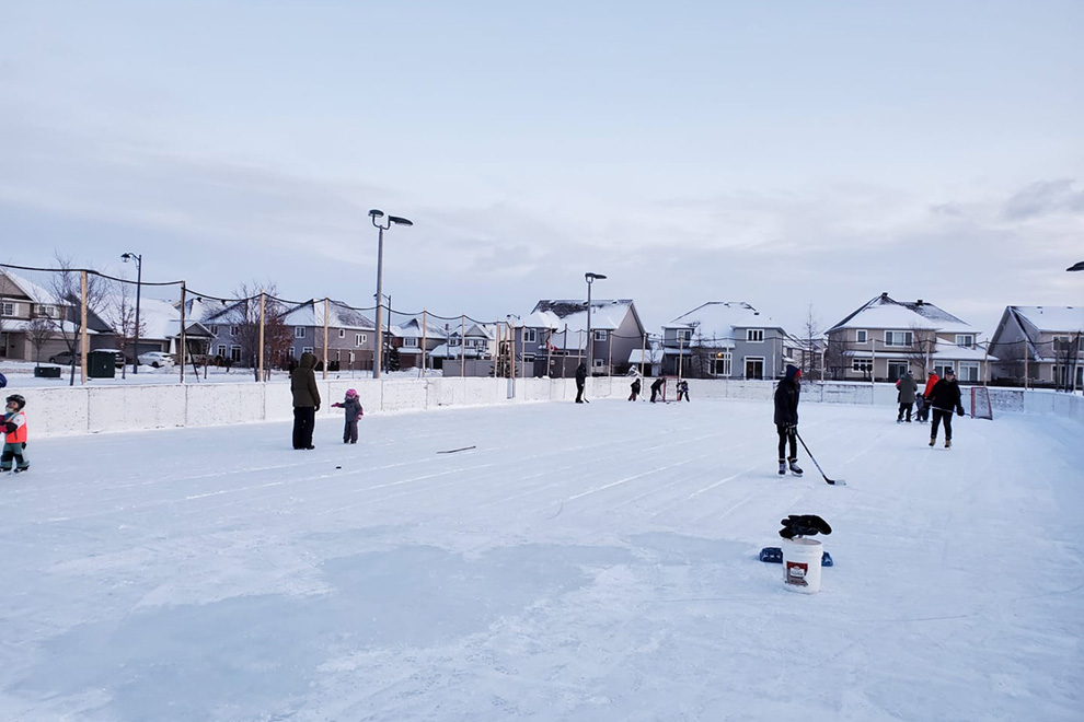 Skating at an outdoor rink at Ouellette Park. List of the best parks in Orléans near Avalon.