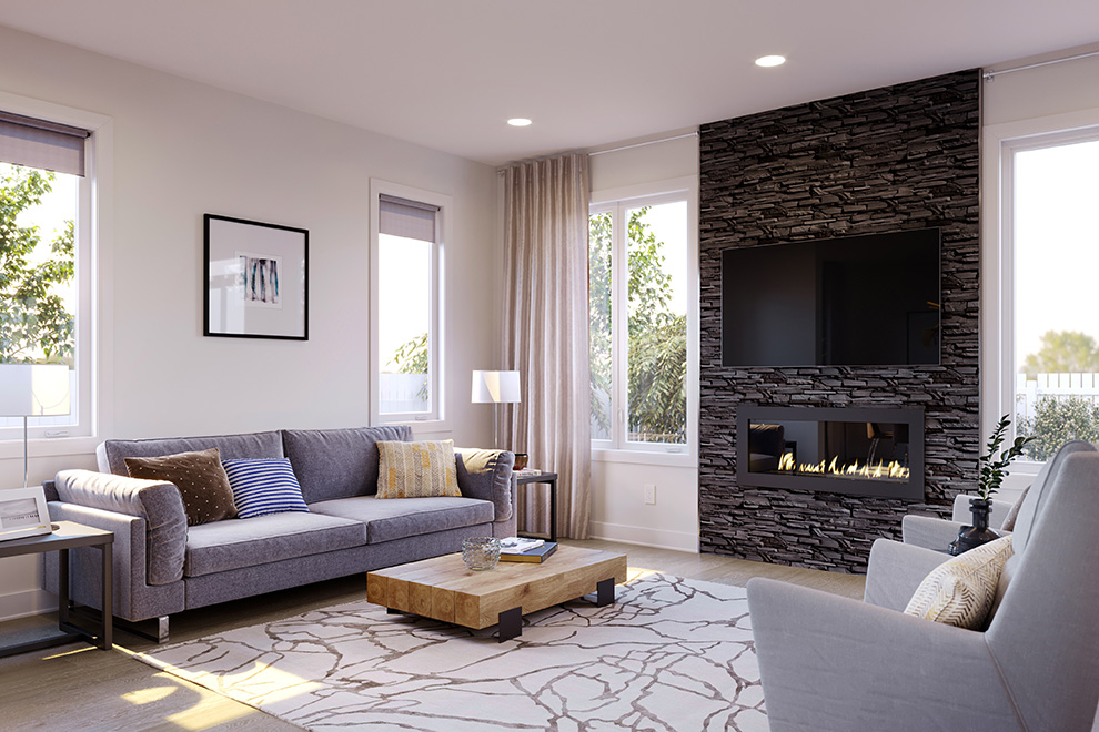 Spacious living room of Avalon Aquaview home. New release of homes for sale at Avalon Aquaview, Minto Communities.