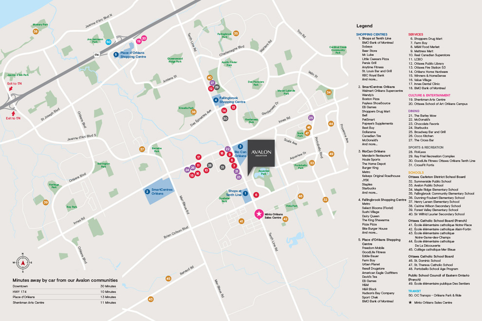 Amenity map of things to in Orléans, Ottawa. What's unique about Avalon Aquaview, Minto Communities.