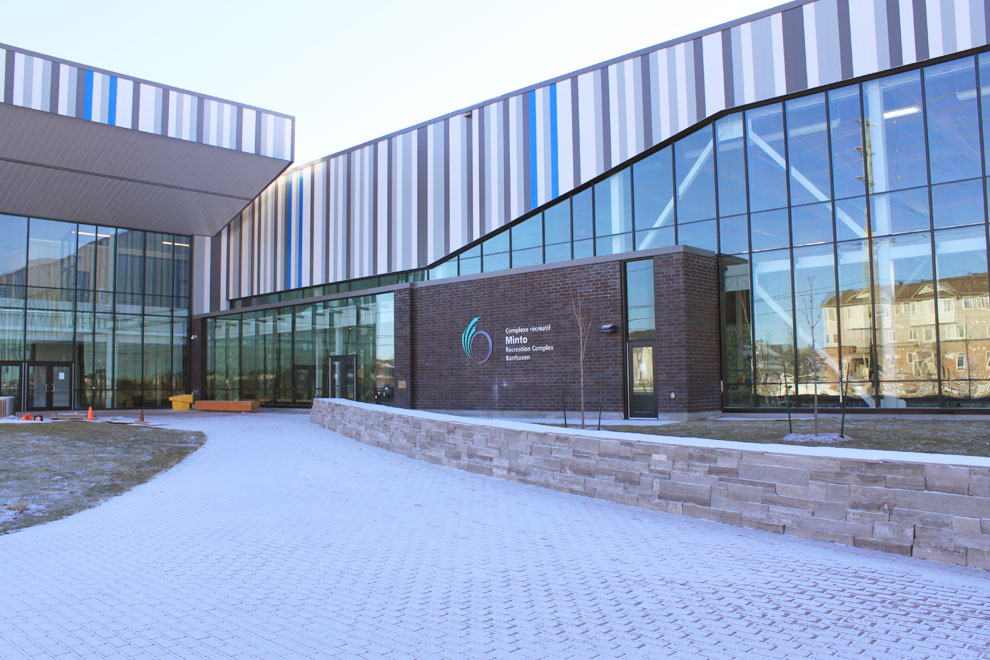 Outside view of the Minto Recreational Complex in Barrhaven.