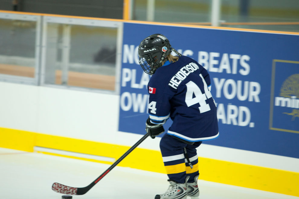 Child playing hockey at the Minto Recreational Complex in Barrhaven.