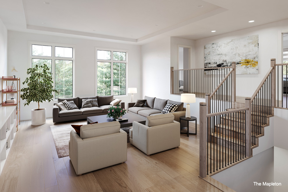 Large modern living room. Choosing the right home for you in Quinn's Pointe, Barrhaven.