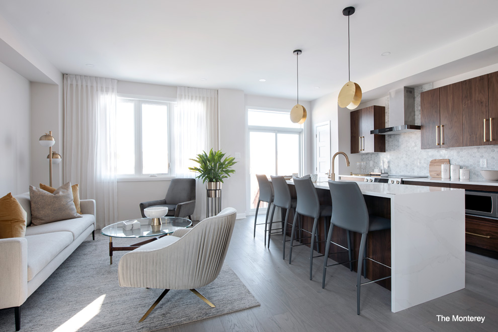 Bright kitchen and living area. Choosing the right home for you in Quinn's Pointe, Barrhaven.