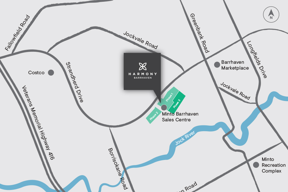 Sitemap of Harmony in Barrhaven, Phase 3 Release. Minto Communities.