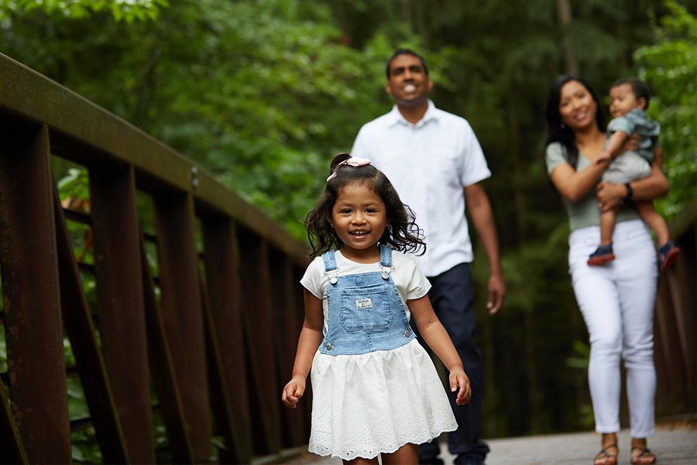 Family Walking in Park in Kanata, Brookline