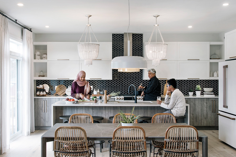 Family around kitchen island. Five of the best places to order takeout and delivery from in Manotick.