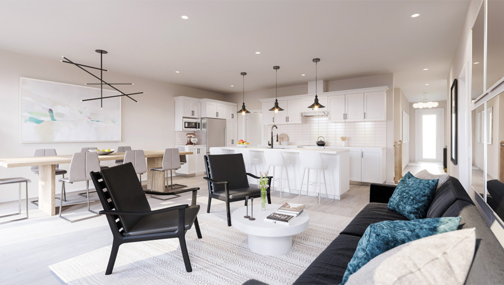 Spacious living room of a Bungalow Townhome in Ottawa. How to choose the Mahogany home that is right for you, Minto Communities.