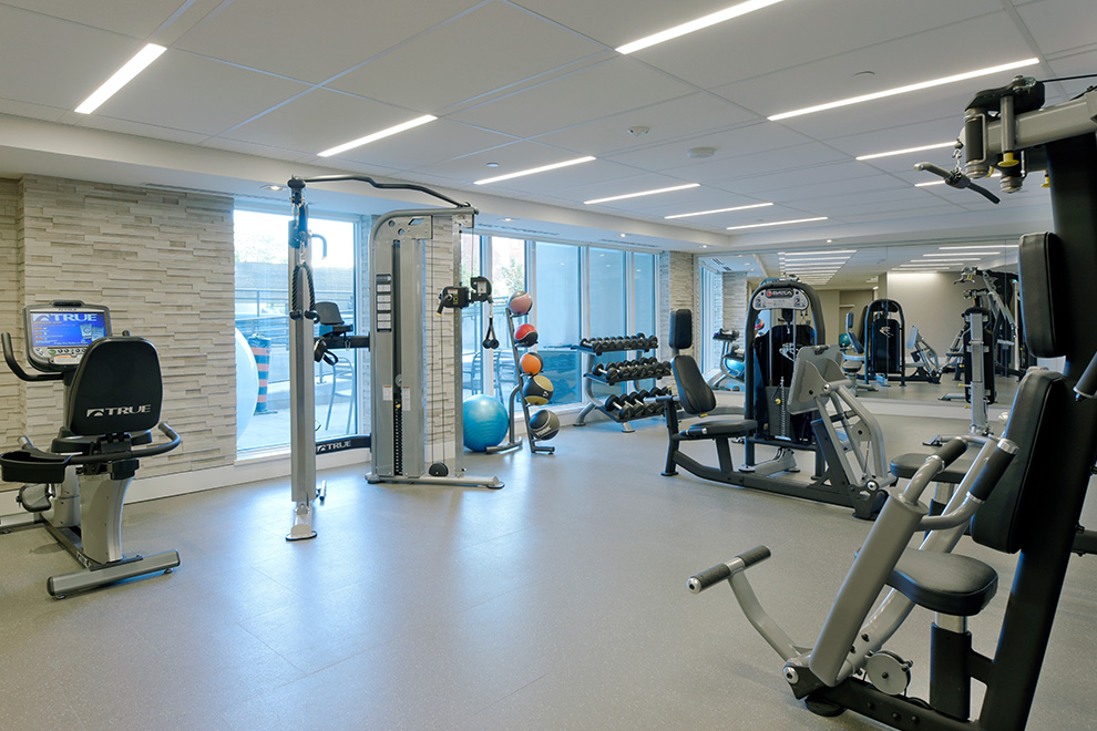 The well-equipped shared gym in Minto Beechwood.