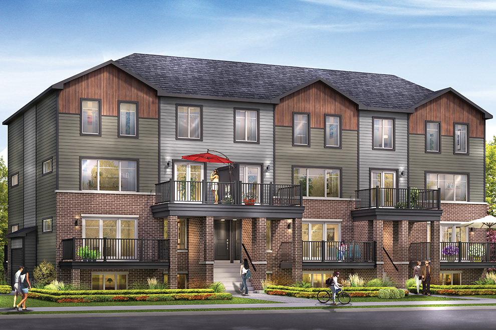 An exterior rendering of Infusion Terrace Homes.