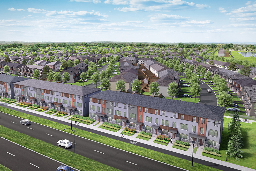 An aerial rendering of Urban Townhomes and freehold homes in the community of Arcadia, Kanata.