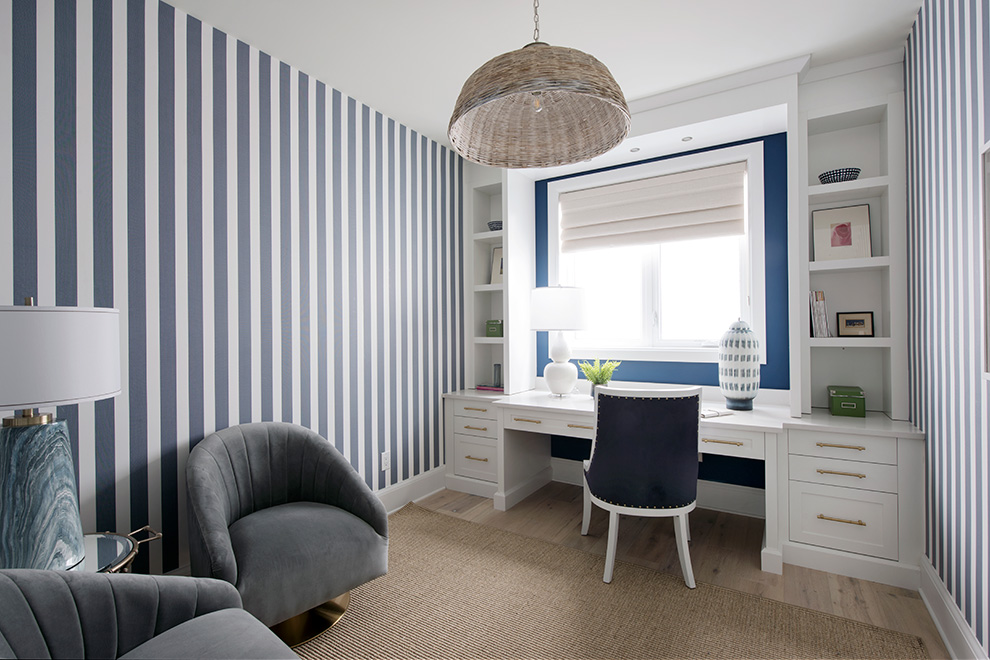 Nautical wallpaper in the den of the Hampton Minto Dream Home for CHEO