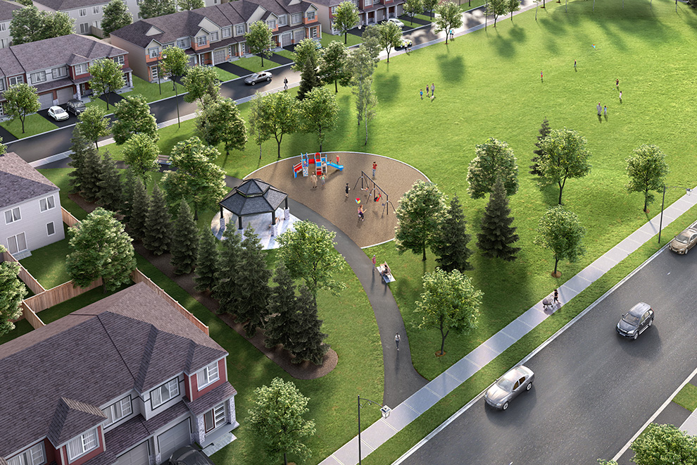 An aerial rendering shows a community park with a gazebo and playground equipment in the heart of Avalon Encore.