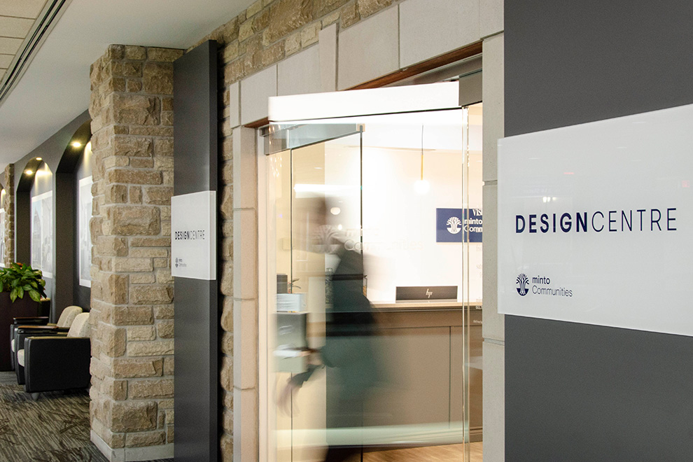 A photo of the entrance to the Minto Design Centre.