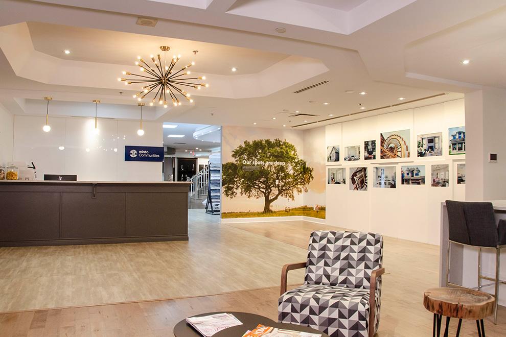 The interior reception area of the Minto Design Centre.