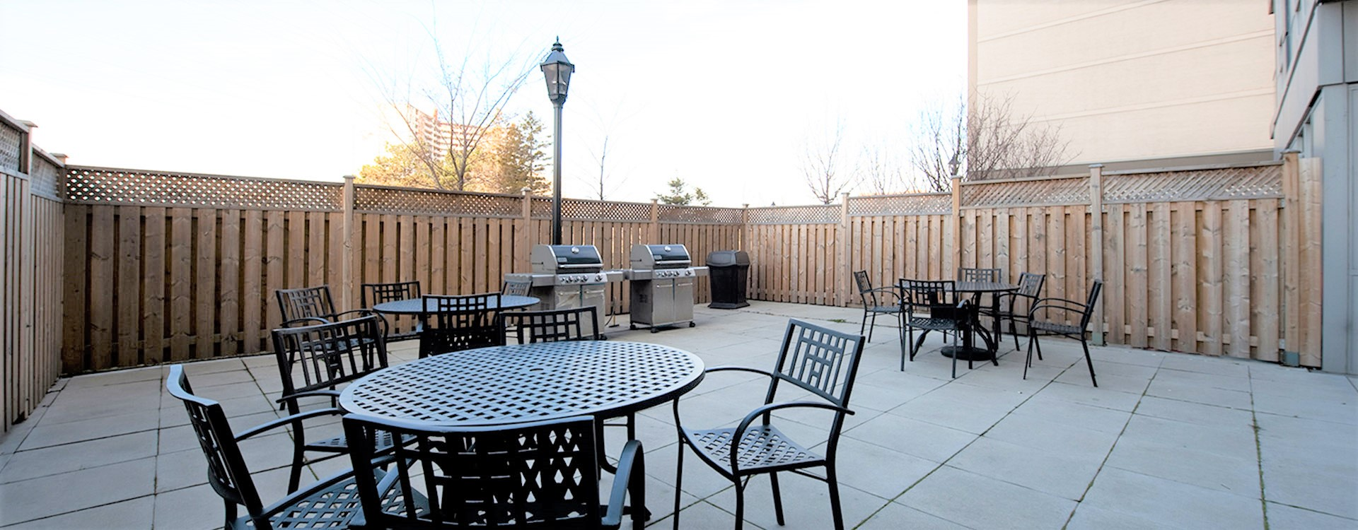Patio area at Martin Grove Apartments in Toronto. Rent with Minto Apartments.