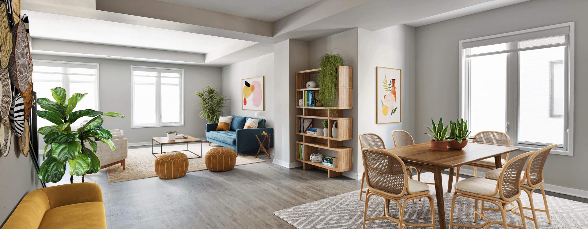 Spacious living room at Navaho Townhomes in Ottawa