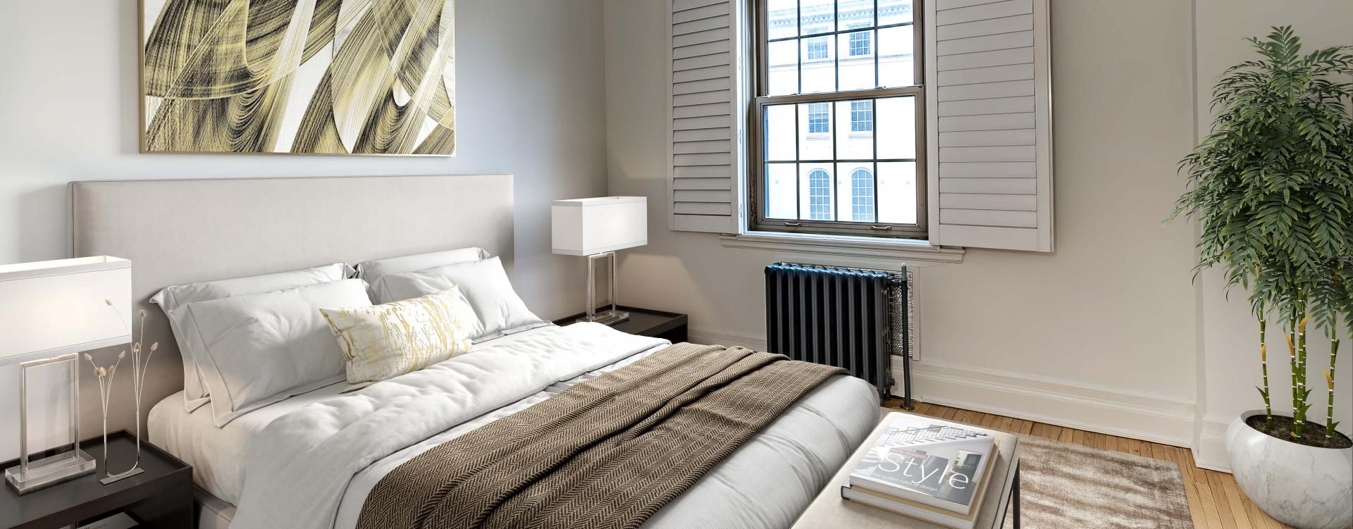 Luxurious bedroom at Haddon Hall apartments in Montreal
