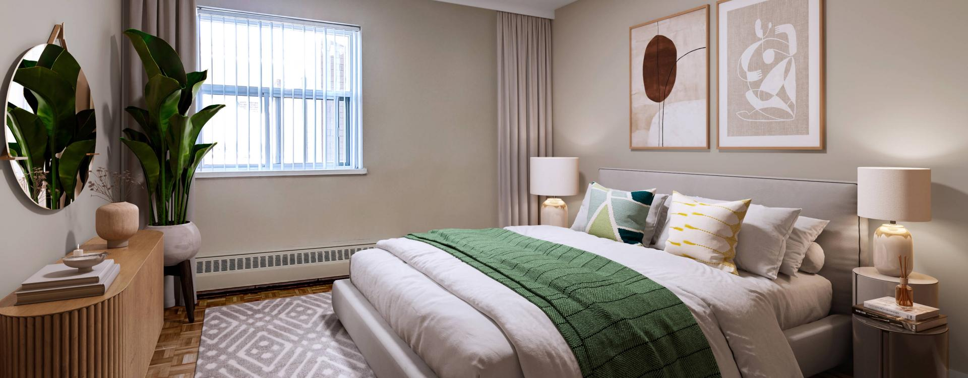 Modern bedroom at Lord Seaton Apartments in Toronto. Rent with Minto Apartments.