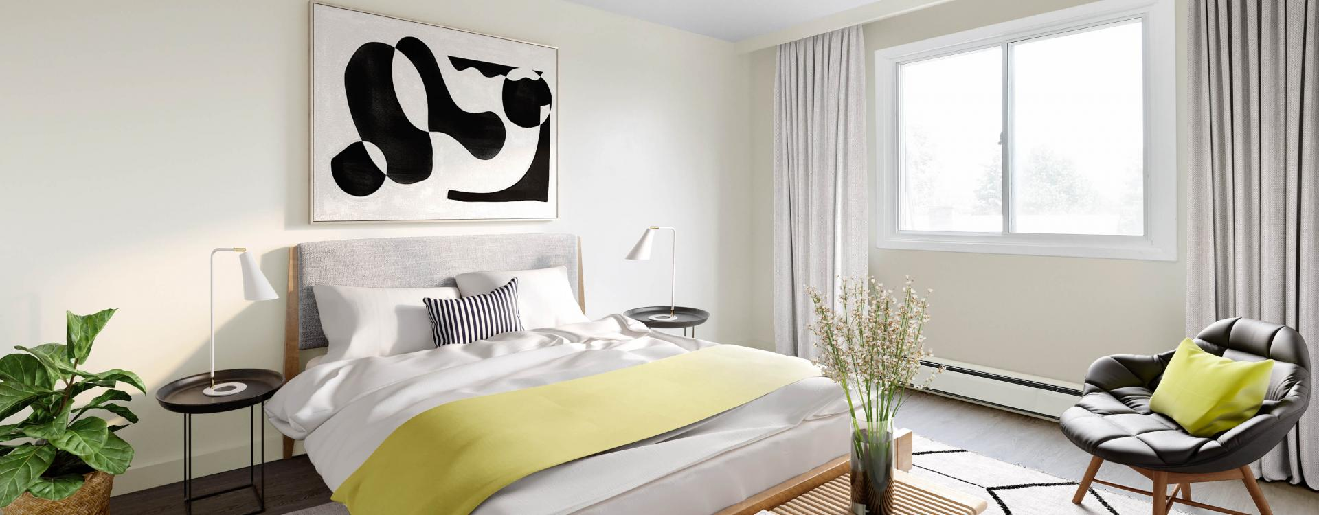 Bright bedroom at Skyline Apartments in Ottawa