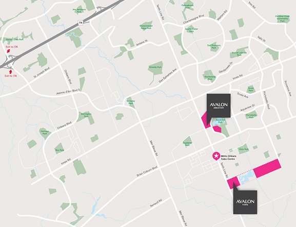 Avalon Location Map Showing Aquaview and Vista in Orléans, Minto Communities