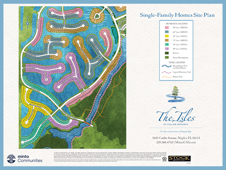 The Isles of Collier Preserve Single Family Homes Site Plan. New homes for sale in Naples, Florida by Minto Communities.