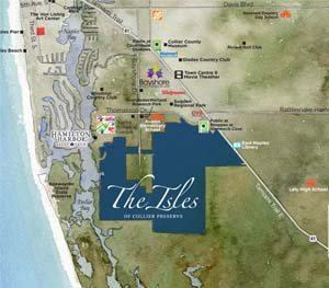 Map of points of interest for The Isles of Collier Preserve near Naples, Florida. New homes for sale by Minto Communities.