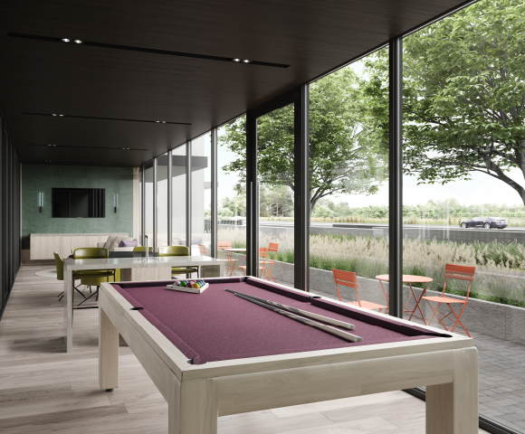 Games room at North Oak. New condos for sale in Oakville, Ontario. Minto Communities.