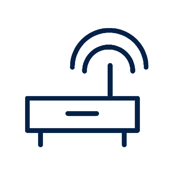 Wifi router icon. New homes & condos for sale in Oakville, Oakvillage by Minto Communities.