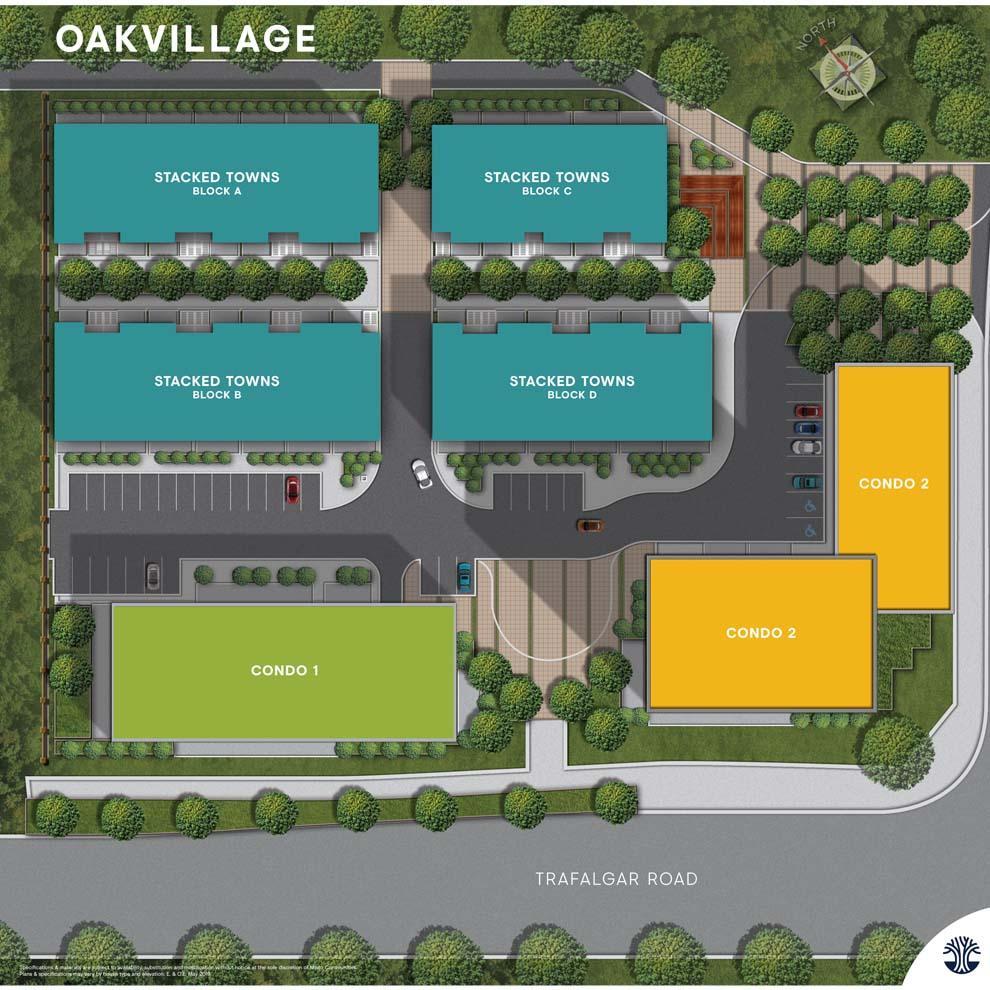 Site Plan of Minto Oakvillage. Condos & townhomes for sale in Oakville.