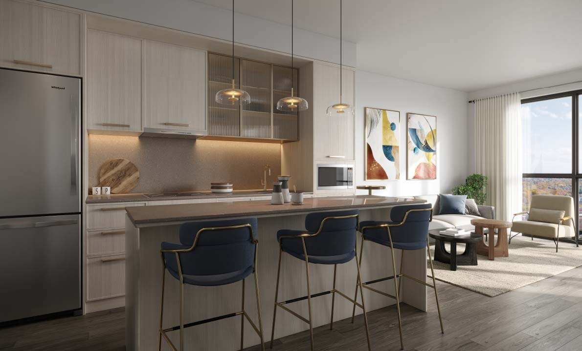 Interior suite at North Oak. New condo building in Oakville, Ontario. Minto Communities.