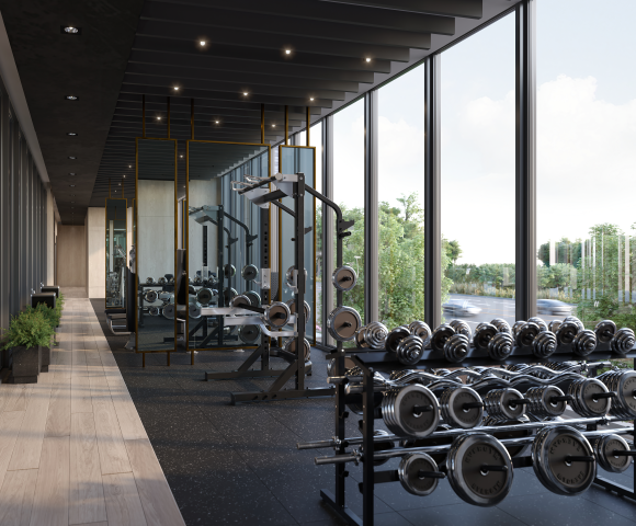 Fitness centre at North Oak. New condos for sale in Oakville, Ontario. Minto Communities.