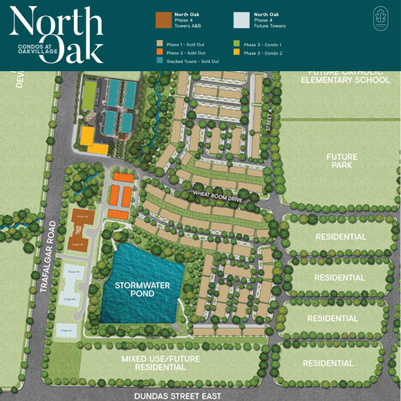 Oakvillage master-planned community site plan. Condos & townhomes for sale in Oakville by Minto Communities