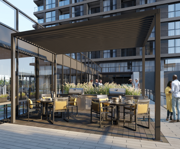 Outdoor amenity at North Oak. New condos for sale in Oakville, Ontario. Minto Communities.