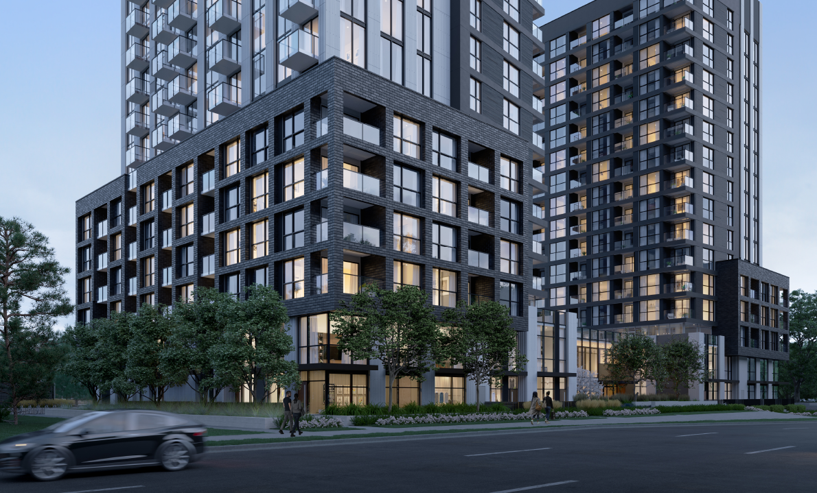 Exterior at North Oak. New condo building in Oakville, Ontario. Minto Communities.