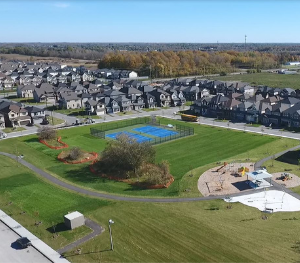 Drone photography of a park in Quinn's Pointe, Barrhaven, Homes For Sale in Barrhaven Ottawa by Minto Communities