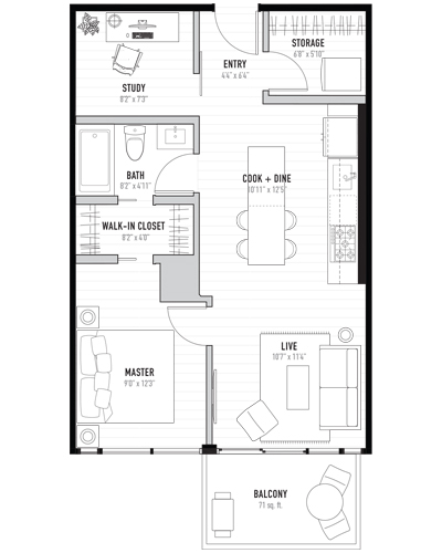 Floorplan for 1 condo apartment in Kensington, Calgary. New condos for sale, The Annex by Minto Communities.