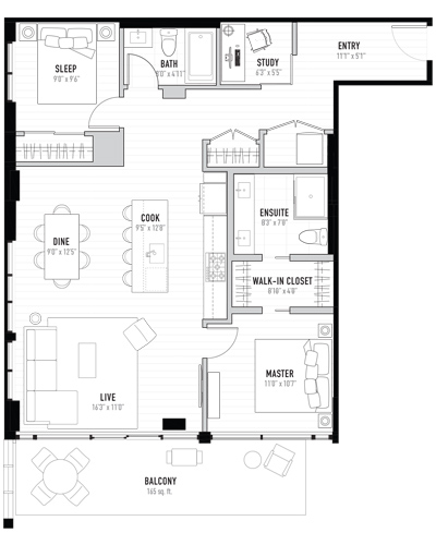 Floorplan for 2 Bedroom condo in Kensington, Calgary. New condos for sale, The Annex by Minto Communities.