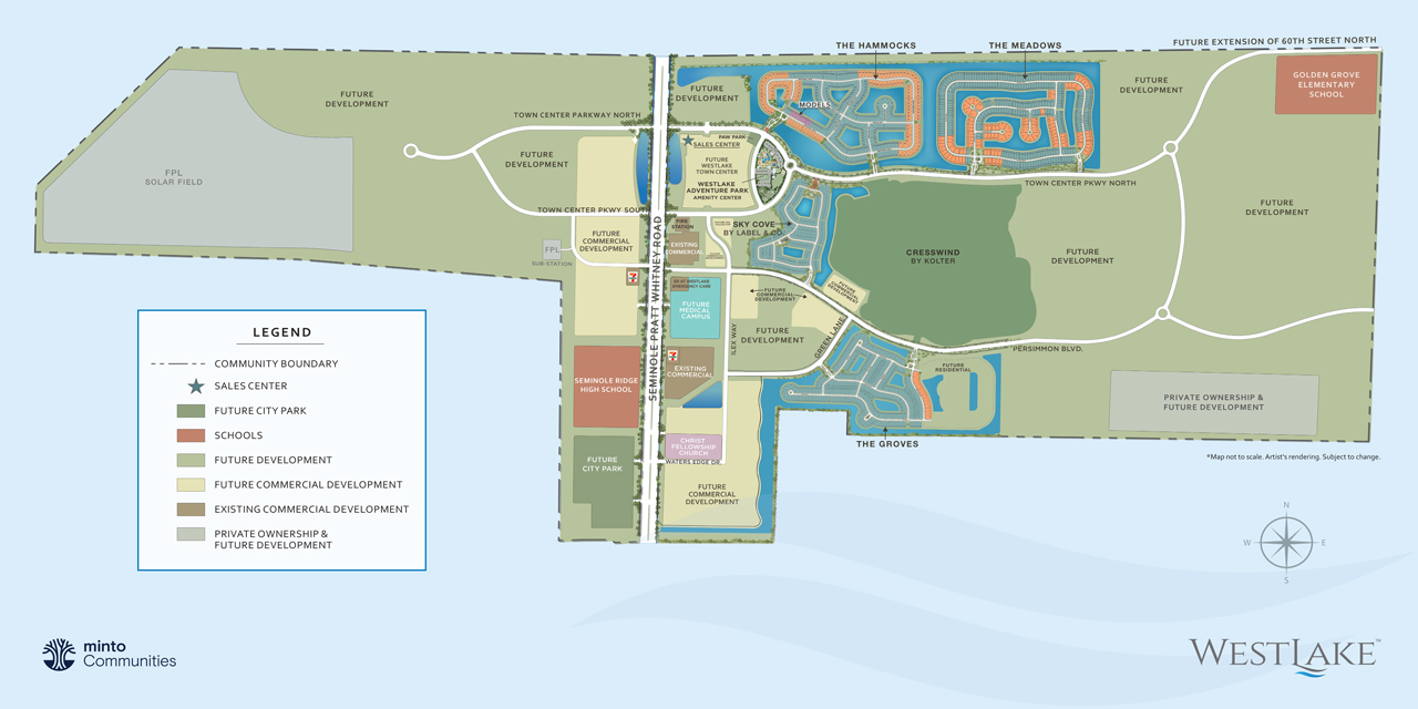 Westlake community plan, Minto Communities. New homes for sale in West Palm beach, Florida.