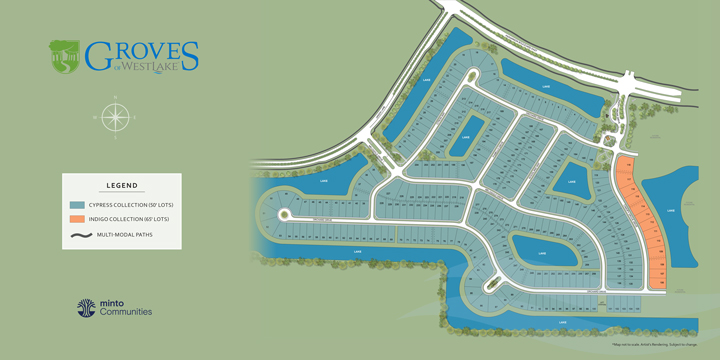The Groves Siteplan, a Westlake neighborhood. New homes for sale in West Palm Beach, Florida by Minto Communities.
