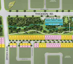 Site plan at Ivy Ridge in Whitby by Minto Communities. New homes for sale at Thickson & Rossland Rd in Whitby.