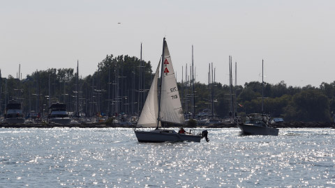 Sailboat in the harbour of Lake Ontario, close to Whitby