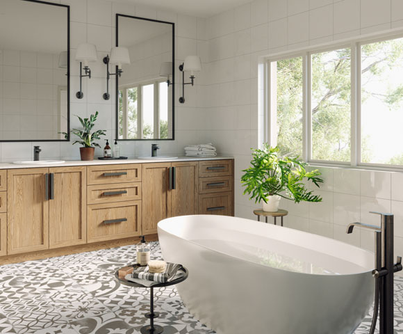 A bathroom rendering at Union Village.