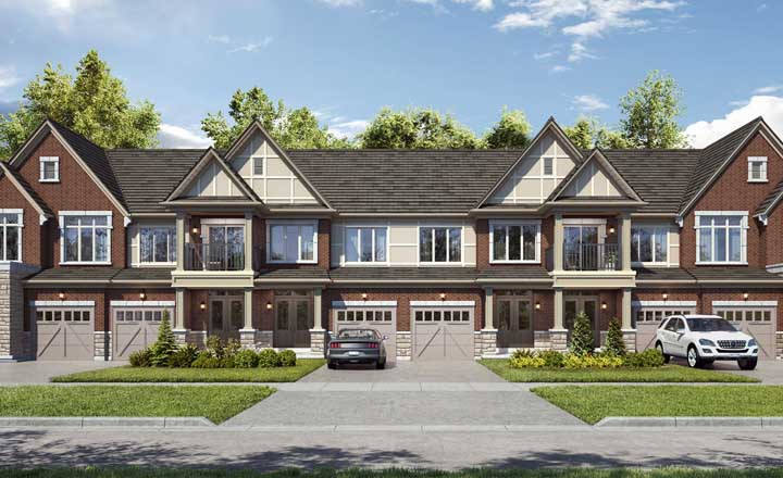 Traditional townhome block at Union Village. Homes for sale in Unionville by Minto Communities & Metropia.