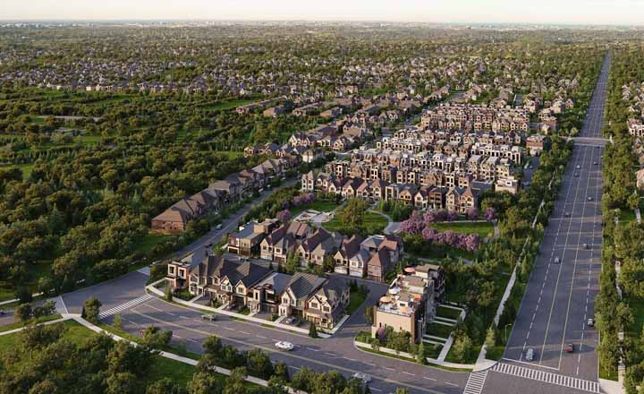 Aerial of Union Village master-planned community. Homes for sale in Unionville, Union Village by Minto Communities & Metropia.