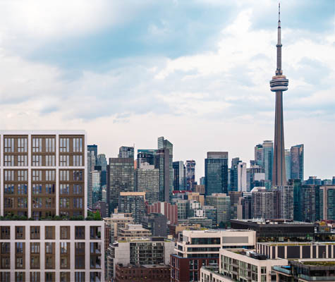 View of Toronto skyline with 123 Portland building. The team behind 123 Portland. New condos for sale at 123 Portland in King West, Toronto.