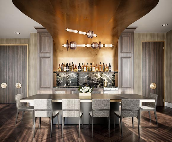 Bookable private kitchen bar and dining room area at 123 Portland. New condos for sale near King West, Toronto. Minto Communities.