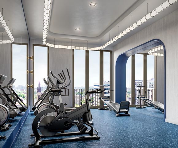 State-of-the-art gym at 123 Portland. New condos for sale near King West, Toronto. Minto Communities.