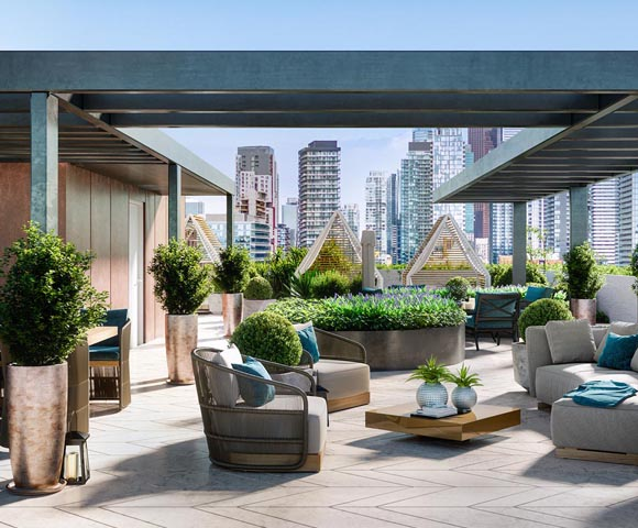 Rooftop lounge area at 123 Portland. New condos for sale near King West, Toronto. Minto Communities.